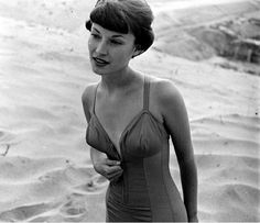 Model in one-piece bathing suit, photo by Loomis Dean, 1950