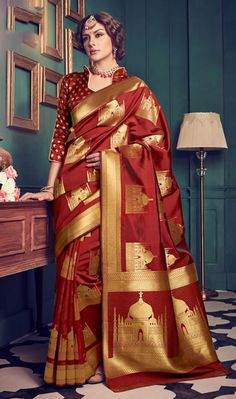 4a884731c63fa0 Lovely Maroon Color Kanchivaram Silk Weaving Designer Party Wear Saree  Wedding Silk Saree, Chiffon Saree