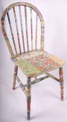 Decoupage or painted chair http://images.folksy.com