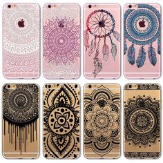 2016 New Phone Case Cover For iPhone 6 6S Soft Silicon Black Colorful Hollow transparent HENNA OJIBWE DREAM CATCHER Ethnic Triba >>> You can find more details by visiting the image link.