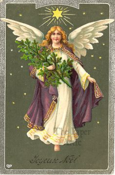 Beautiful Angel with Christmas Tree Antique French Christmas Postcard #Christmas