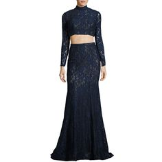 La Femme Long-Sleeve Beaded Lace Two-Piece Gown ($490) ❤ liked on Polyvore featuring dresses, gowns, navy, blue lace gown, navy blue gown, long sleeve lace dress, navy blue ball gown and long sleeve evening gowns