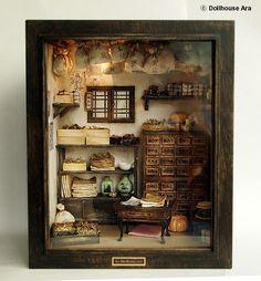 Traditional oriental Herbal Medicine Shop handmade door DollhouseAra, $589.00