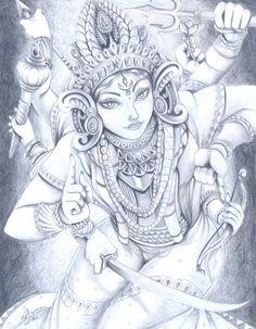 Durga by Ferenand on DeviantArt Hindu Tattoos, God Tattoos, Indiana, Navratri Puja, Kali Tattoo, Kali Goddess, Goddess Tattoo, Geniale Tattoos, Krishna Art
