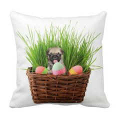 Easter Pug puppy American mojo throw pillow #easter #pug #pugs #gifts #pillows #dogs #dog #pet