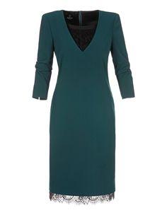 Knielanges Kleid in H-Linie с V-образным вырезом und Spitze | MADELEINE Mode