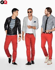 Men's fashion/ three way series/chino pant/ leather jacket/ casual Friday/ dress to impress/Three ways of wearing red trousers Best Mens Fashion, Look Fashion, Outfit Pantalon Rojo, Red Trousers Outfit, Pantalon Orange, Red Chinos, Mo S, Well Dressed, Men Dress