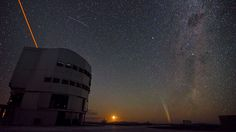 ESO's Paranal Observatory by night.  ESO's Paranal Observatory in Chile's Atacama Desert, by night. Paranal is the home of the ESO Very Large Telescope (VLT), the world's most advanced visible-light astronomical observatory. In this photograph, taken on 22 December 2011, Comet Lovejoy can be seen on the horizon, to the right of the Moon. A reddish laser beam shoots from one of the VLT's giant Unit Telescopes, creating an artificial star to allow astronomers to make sharper observations.