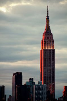 The sunset reflected on the Empire State Building, NYC