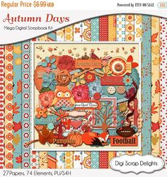 50% OFF TODAY Autumn Days Digital Scrapbook Kit in  Orange, Red, Blue, Red, Fox, Owls, Leaves, Pumpkin, Fall Flowers Clip Art