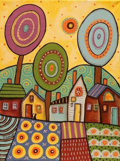 Village Gardens by Karla Gerard Karla Gerard, Naive Art, Whimsical Art, Doodle Art, Painting & Drawing, Garden Painting, Art Lessons, Watercolor Art, Art Projects