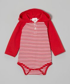 This nktoo by Nohi Kids Red Stripe Hooded Bodysuit - Infant by nktoo by Nohi Kids is perfect! #zulilyfinds
