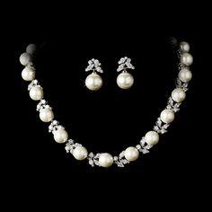 Freshwater Pearl and CZ Wedding Jewelry Set