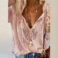 Summer Women Blouses Elegant V Neck Bottoming Long-sleeved Pink Shirt Lace Hook Flower Hollow Casual Shirts Blouse Plus Size 3XL Bohemian Blouses, Lace Sleeves, Fashion Prints, Blouses For Women, Casual Shirts, Summer Clothes, Comfy Clothes, Clothing Patterns, Dress Patterns