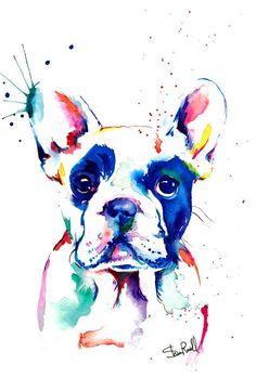 Bulldog Francés Frenchie Art Print impresión de acuarela