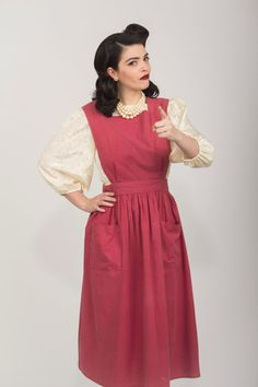 Vintage 1940's Red Apron by PeplumPatina on Etsy, $20.00