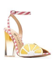 The Citron Lemon Stripe Detail Ankle Strap Peep-Toe Block Heel Dress Sandals