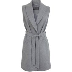 Miss Selfridge Grey Belted Sleeveless Coat (120 RON) ❤ liked on Polyvore featuring outerwear, coats, jackets, coats & jackets, vests, grey, miss selfridge, gray coat, belted wool coat and grey coat