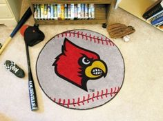 Louisville Cardinals Baseball Shaped Area Rug Welcome/Door/Bath Mat