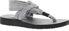 """Skechers Cali Women's Shoes in Gray Color. Skechers' unstructured slingback sandal successfully redefines the meaning of relaxation. Ultra-soft stretch fabric straps. Cushy Yoga Foam footbed cushioning. Flexible rubber-like sole. 1"""" heel height. Available in whole sizes only half sizes please order the next size up #SkechersCali #grayshoes #shoes #footwear #sandals"""