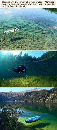 Flathead Lake, Montana: Because of the crystal-clear water, Flathead Lake in Montana seems shallow, but in reality is 370 feet in depth