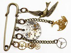 Steampunk Brooch - Clockwork Brooch - Steampunk Kilt Pin - Steampunk Jewelry - Watch Gears - Industrial Jewelry