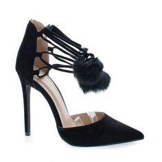 Kiola Black Suede D Orsay Pom Pom Ankle Wrap Stiletto Heel Sandals Femmes  Noires, 49fa37cab2d