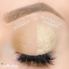 Buttercup Shimmer and Gold Shimmer ShadowSense side by side comparison.  These long-lasting SeneGence eyeshadows help create envious eye looks.  #eyeshadow #shadowsense