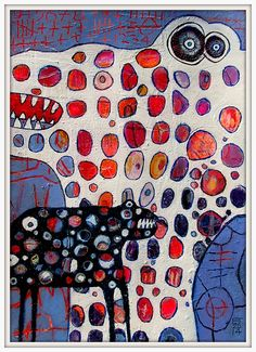 Chickenpox by  Elke Trittel    layered, scratched through acrylic, pastels, markers, pencils, crayons on paper