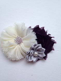 New to LaBellaRoseBoutique on Etsy: Cream plum Hair Clip Ivory & grey eggplant flowers on hair clip toddler baby teen women flower hair accessory wedding flower girl birthday (7.50 USD)