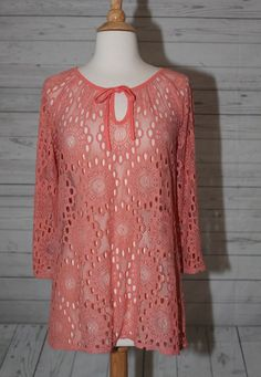 Peck Peck Weekend Sz L Womens Lace Mesh Floral Pink Coral Dress Top Blouse | eBay