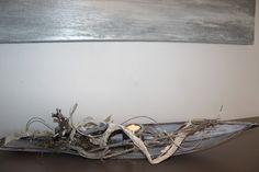 TD42 - Außergewöhnliche Tischdeko! Großes Kokosblatt gebeizt und natürlich dekoriert mit einem Frosch und Edelstahlteelicht! Preis 39,90€