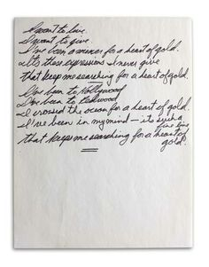 """Neil Young's handwritten lyrics to """"Heart of Gold"""" -on display at The Rock and Roll Hall of Fame, so awesome :)"""