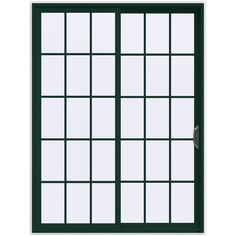 JELD-WEN 72 in. x 96 in. V-4500 Hartford Green Prehung Right-Hand Sliding 15 Lite Vinyl Patio Door with White Interior
