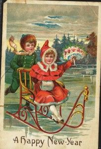 a vintage happy new year card from the filson historical societys library santa christmas