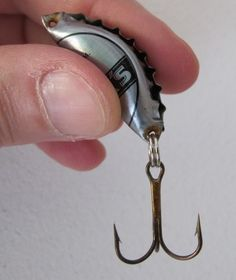 Bottle Cap Fishing Lures--how to    You can always find bottle caps and you should already have hooks in your BOB