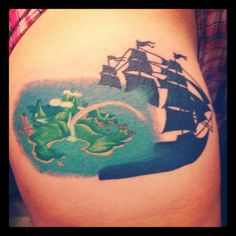 My Peter Pan tattoo. Its the Jolly Roger fading into Neverland :) it is just the first piece.
