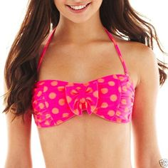 Arizona Aruba Pink Polka Dot Hipster Swim Bottoms Sizes S L New