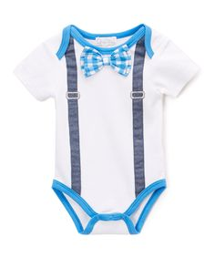 Look at this Quiltex White 3-D Bow Tie Bodysuit - Infant on #zulily today!