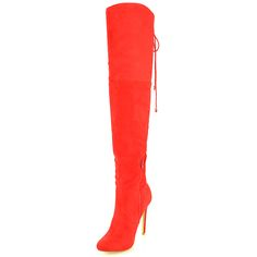 KEIRA RED THIGH HIGH BOOTS