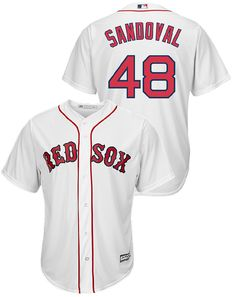 32d3b98ae Wear what the pros wear when you put on this Youth Pablo Sandoval Boston  Red Sox Cool Base Synthetic Replica Baseball Jersey by Majestic.
