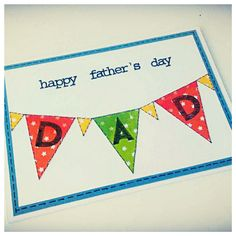 Father's Day Card with Bunting Happy Fathers Day, Bunting, Daddy, Playing Cards, Symbols, Letters, England Uk, Crafty, Unique Jewelry