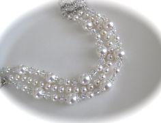 Pearl wedding jewelry bridal bracelet cuff by CrystalBridalJewelry, $72.00
