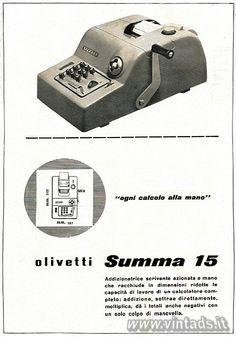 """""""ogni calcolo alla mano"""" olivetti Summa 15, 1950"""