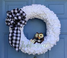 Excited to share this item from my shop: Buffalo Plaid Wreath, Black & White Wreath, Front Door Wreath, Everyday W Christmas Yarn Wreaths, Owl Wreaths, Wreath Crafts, Wreaths For Front Door, Diy Wreath, Christmas Crafts, Wreath Fall, Santa Wreath, Tulle Wreath