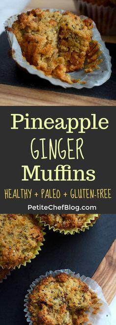 Pineapple Ginger Muffins (Paleo + Gluten-Free) - The Petite Chef - Paleo & Gluten-Free Pineapple Ginger Muffins Gluten Free Muffins, Gluten Free Snacks, Healthy Muffins, Gluten Free Baking, Healthy Snacks, Healthy Breakfasts, Low Carb Dessert, Paleo Dessert, Paleo Food