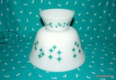 Federal Glass Retro turquiose Aqua Atomic Stars Nesting Bowl Set