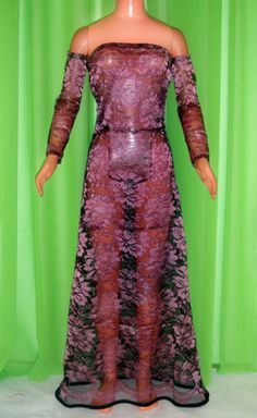 Maroon Lace Long Sleep Dress for My Size Barbie Doll 36"