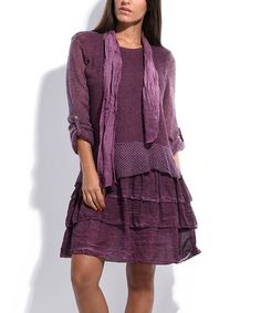 Loving this Purple Open-Knit Layered Tiered Dress on #zulily! #zulilyfinds