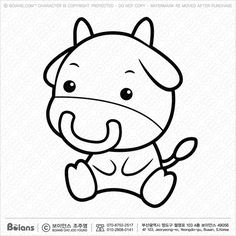 Vector Black And White Bull character sits forward.